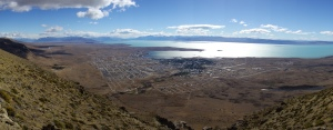 El Calafate, seen from the top of the somewhat arduously-climbed hill next to town