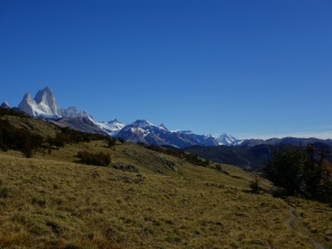 A slightly more distant – but cloudless – view of Mount Fitz Roy, from partway along the trail out to Mirador Loma del Pliegue Tumbado