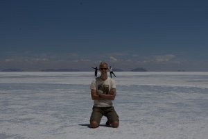 Perspective tricks on the Uyuni salt flats  (Photo courtesy of Chris, taken on Shannon's camera – thanks to both)