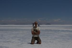 Perspective tricks on the Uyuni salt flats  (Photo courtesy of Chris, taken on Shannon's camera – thanks to both)