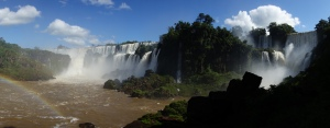 The Iguazú Falls, seen from near the boat launch on the Argentine side