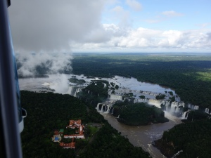 An overview of all of the Iguazú Falls from a helicopter