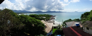 The view from the deck/bar of Barra Beach Club, Florianópolis